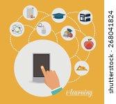 e learning design over yellow... | Shutterstock .eps vector #268041824