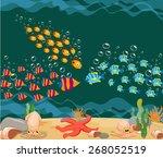 ocean fish. ocean underwater... | Shutterstock .eps vector #268052519