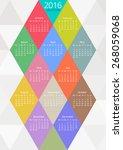 geometrical calendar of 2016.... | Shutterstock .eps vector #268059068