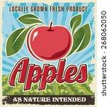 apple retro vintage crate label ... | Shutterstock .eps vector #268062050