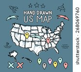 hand drawn us map on chalkboard ... | Shutterstock .eps vector #268069760