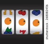 slot machine  threesome oranges | Shutterstock .eps vector #268082456