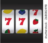 slot machine two sevens and ... | Shutterstock .eps vector #268082498