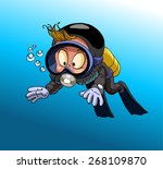 cartoon diver boy surprised... | Shutterstock .eps vector #268109870