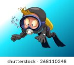 Cartoon Diver Boy Surprised...