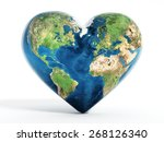 Heart Shaped Earth Isolated On...