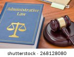 Small photo of A law book with a gavel - Administrative law