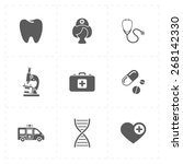 9 flat medicine icons | Shutterstock .eps vector #268142330