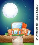 school scene at night with... | Shutterstock .eps vector #268155380