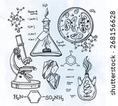 hand drawn science vintage... | Shutterstock .eps vector #268156628