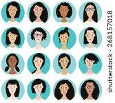 sixteen portraits of different... | Shutterstock . vector #268157018