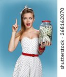 Retro Woman With A Jar Of Money ...