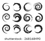 set of grunge circle shapes.... | Shutterstock . vector #268168490