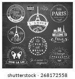paris badges and labels in... | Shutterstock .eps vector #268172558