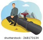 happy businessman sitting on... | Shutterstock .eps vector #268173134