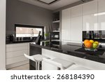 Stock photo picture of black and white kitchen design 268184390