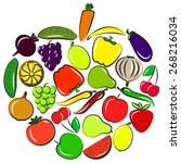 illustration of vegetables and... | Shutterstock . vector #268216034