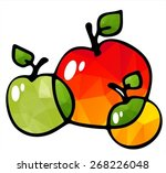 three apples isolated on a... | Shutterstock .eps vector #268226048