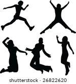 woman jumping  silhouette | Shutterstock .eps vector #26822620