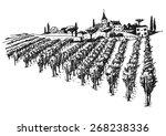 vineyard landscape ink pen... | Shutterstock .eps vector #268238336