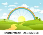 rural scene with rainbow and...