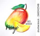 delicious ripe watercolor mango.... | Shutterstock .eps vector #268242548