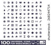 100 universal icons for web and ... | Shutterstock . vector #268244714