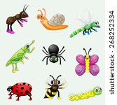 set of cute cartoon insects | Shutterstock .eps vector #268252334