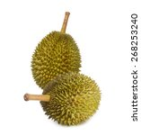 Durian Isolated On White...