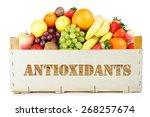 antioxidants. fruits in wooden... | Shutterstock . vector #268257674