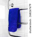 blue towel on a dryer in modern ... | Shutterstock . vector #268267679