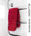 red towel on a dryer in modern... | Shutterstock . vector #268267718