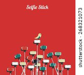 selfie stick illustration | Shutterstock .eps vector #268321073
