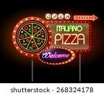 neon sign pizza | Shutterstock .eps vector #268324178
