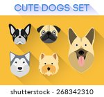 cute dogs set | Shutterstock .eps vector #268342310