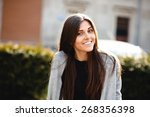 young girl posing on a... | Shutterstock . vector #268356398