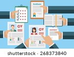 job interview concept with...   Shutterstock .eps vector #268373840