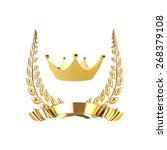 laurel wreath and gold ribbon... | Shutterstock .eps vector #268379108