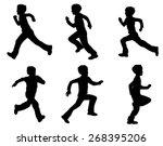 kid running silhouettes | Shutterstock .eps vector #268395206