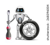 the robot with a car wheel and... | Shutterstock .eps vector #268396004