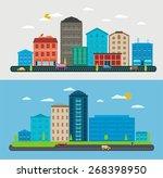 flat design urban landscape ... | Shutterstock .eps vector #268398950