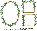 oval and square border with leaf | Shutterstock .eps vector #268432073