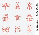 insect icon set  thin line... | Shutterstock .eps vector #268435820