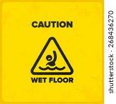 funny wet floor joke sign with... | Shutterstock .eps vector #268436270