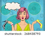 pop art woman with different... | Shutterstock . vector #268438793