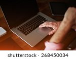 close up shot with male hands... | Shutterstock . vector #268450034
