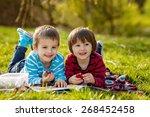 two adorable cute caucasian... | Shutterstock . vector #268452458