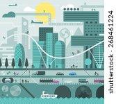 vector city illustration in... | Shutterstock .eps vector #268461224