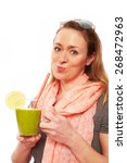 woman making a smoothie | Shutterstock . vector #268472963
