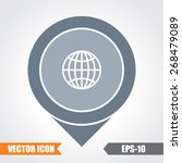 globe icon on map pointer. eps. ... | Shutterstock .eps vector #268479089